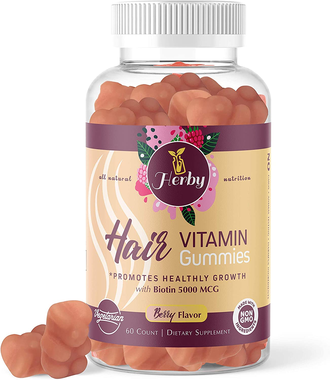 Regular dealer Herby Hair Vitamins Gummy with Max 43% OFF Vitamin Biotin Vegetarian