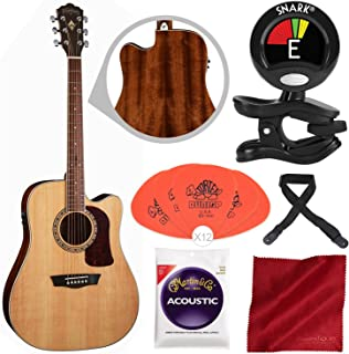 Washburn Heritage Series HD10SCE Acoustic-Electric Cutaway Dreadnought Guitar with Clip-On Tuner, Picks, Strings, and Accessory Bundle