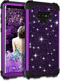 Casetego Compatible Galaxy Note 9 Case,Glitter Sparkle Bling Three Layer Heavy Duty Hybrid Sturdy Armor Shockproof Protective Cover Case for Samsung Galaxy Note 9(2018),Shiny Purple