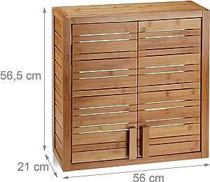 Relaxdays Wandschrank aus Bambus, 2 Türen, höhenverstellbare Einlegeböden, Quadrat Hängeschrank, HBT 56,5x56x21cm, Natur
