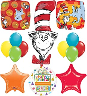 Dr Seuss Cat In The Hat Birthday Party Supplies and balloon Bouquet Decorations