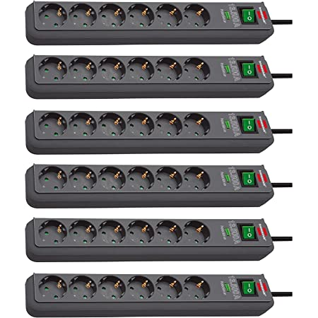 Brennenstuhl Eco Line Steckdosenleiste 6 Fach Mit Überspannungsschutz Mit Schalter Und 1 5m Kabel Besonders Stromsparend Farbe Anthrazit 6 Stück Baumarkt
