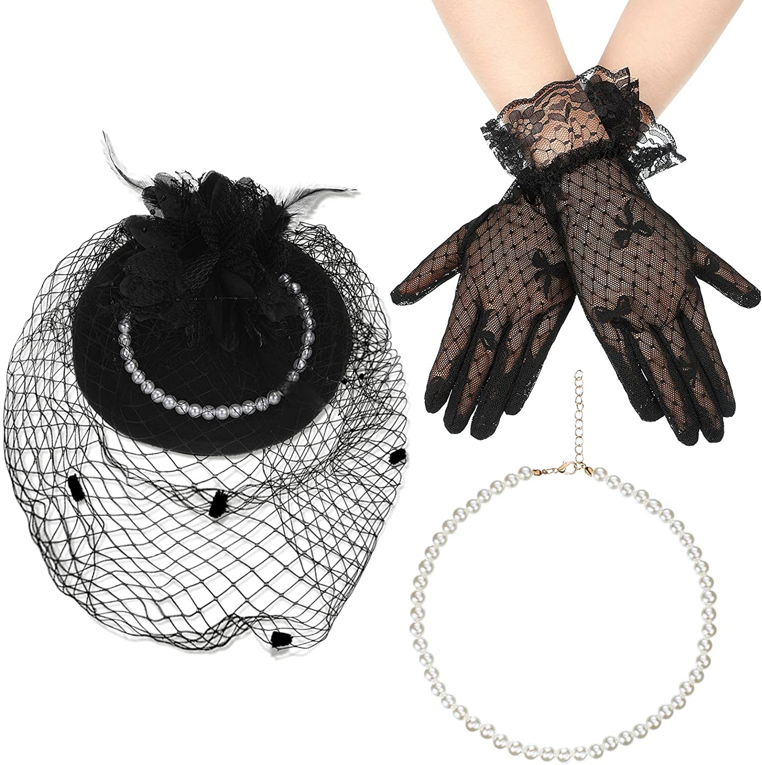 Women Faux Feather Veil Fascinator Hat Halloween Vintage Pillbox Mesh Feathers Hair Clip, Short Lace Gloves and Round Imitation Pearl Necklace for Tea Party Wedding Costume