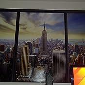 murando 3D ILLUSION DOPTIQUE 210x150 cm Papier peint intiss/é tableaux muraux d/éco vue depuis la fenetre Ville City New York Panorama