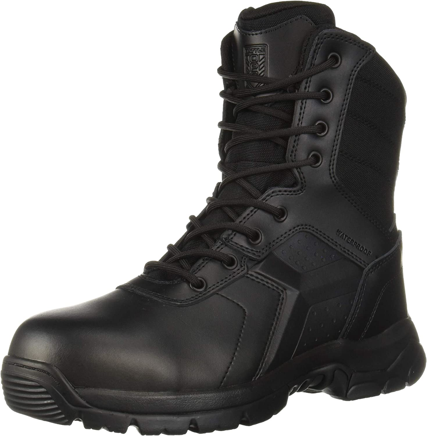 Battle OPS Mens 8-inch Waterproof Side Zip Tactical Boot Comp Safety Toe Military and Tactical Boot