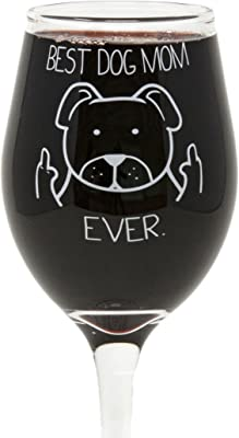 Funny Guy Mugs Best Dog Mom Ever Wine Glass, 11-Ounce - Unique Gift for Women, Mom, Daughter, Wife, Aunt, Sister, Girlfriend, Teacher or Coworker (Several Styles To Choose From)