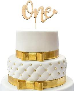 1st Birthday Cake Topper - One Cake Topper Gold - Double Sided Gold Glitter - One Cake Topper Happy - First Birthday Cake Topper - One Sign - Birthday Accessory For Boys & Girls - 1 Cake Topper
