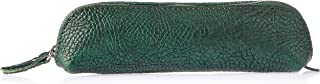 Trifine Unisex Pebbled Leather Pencil Case, Green, One Size