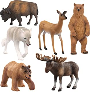 Terra by Battat – North American Animals Set – Realistic Animal Toys with Bison and Bear Toys for Kids 3+ (6 pc)