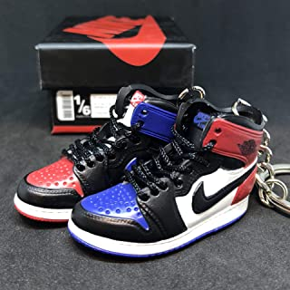 Pair Air Jordan I 1 Retro Top 3 Blue Red Black OG Sneakers Shoes 3D Keychain Figure + Shoe Box