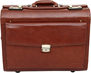 Top Grain Leather Wheeled Pilot Case Briefcase Flight Cabin Trolley