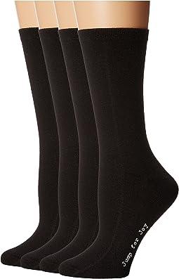 HUE - Flat Knit Socks w/ Pique Welt 4-Pack