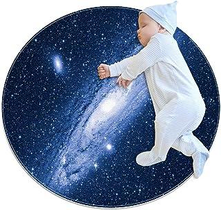 Andromeda galax, barn rund matta polyester överkast matta mjuk pedagogisk tvättbar matta barnkammare tipi tält lekmatta