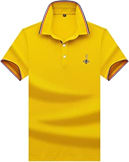 KTYXDE T-Shirt Men's Summer Solid Color Sports Short-Sleeved Lightweight Casual Running Lapel T-Shirt Loose Breathable Half Sleeve Men's Polo T-Shirt (Color : Yellow, Size : XL)