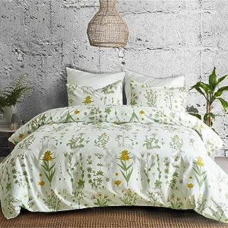 3 PCs Botanical Duvet Cover Set, Modern Flowers Printed Boho Comforter Cover Bedding Sets with Zipper Ties