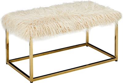 Christopher Knight Home Mallory Fauc Furry Long Fur Ottoman with Stainless Steel Frame, Beige / Steel Golden