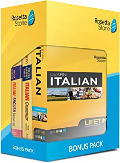 Learn Italian: Rosetta Stone Bonus Pack Bundle (Lifetime Online Access + Grammar Guide and Dictionary Book Set)