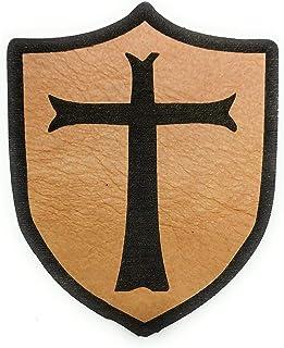 Parche de cuero emblema templario con Velcro macho parte posterior y Hembra (incluido)