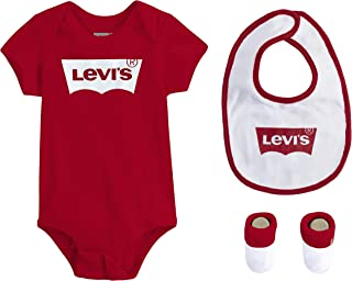 Levi's Baby Girls' Bodysuit, Bib and Booties 3-Piece Gift Box Set
