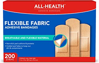 All Health Flexible Fabric Adhesive Bandages, 1 in x 3 in,| Flexible Protection for First Aid and Wound Care, One Size, 200 Count