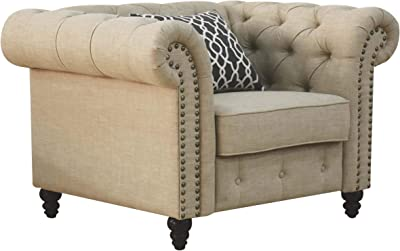 Benjara Chesterfield Design Fabric Chair with Rolled Arms and 1 Accent Pillow, Beige