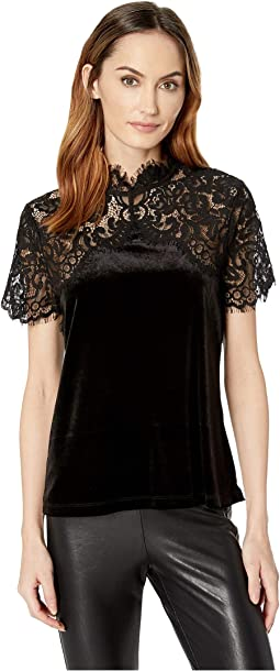 Yoke Lace Top w/ Velvet Body
