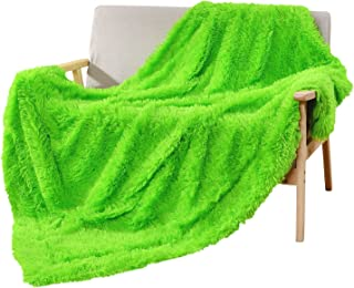 DECOSY Silky Fluffy Couch Throw Blanket Bright Green 60
