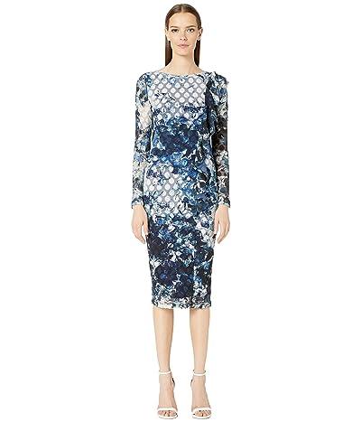 FUZZI Long Sleeve Front Ruffle Printed Dot Dress (Avio) Women