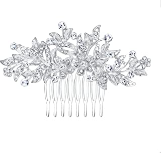 Flyonce Women's Crystal Flower Leaf Hair Comb for Wedding Bridal Clear Sliver-Tone