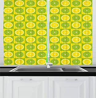 Ambesonne Lime Green Kitchen Curtains, Lemon and Lime in Pop Art Inspired Pastel Toned Squares Graphic, Window Drapes 2 Panel Set for Kitchen Cafe Decor, 55