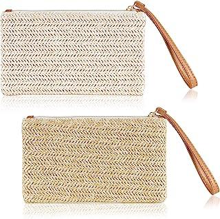 2 Pieces Straw Clutch Bag Zipper Straw Wallet Bohemian Summer Beach Straw Wristlet Handbag for Women Girls