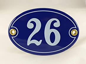 Emaille huisnummerbordje nr. 26, ovaal, blauw-wit Nr. 26 Blau-Weiß + Schrauben und Dübel