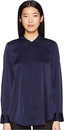 Stretch Silk Charmeuse Classic Collar Shirt