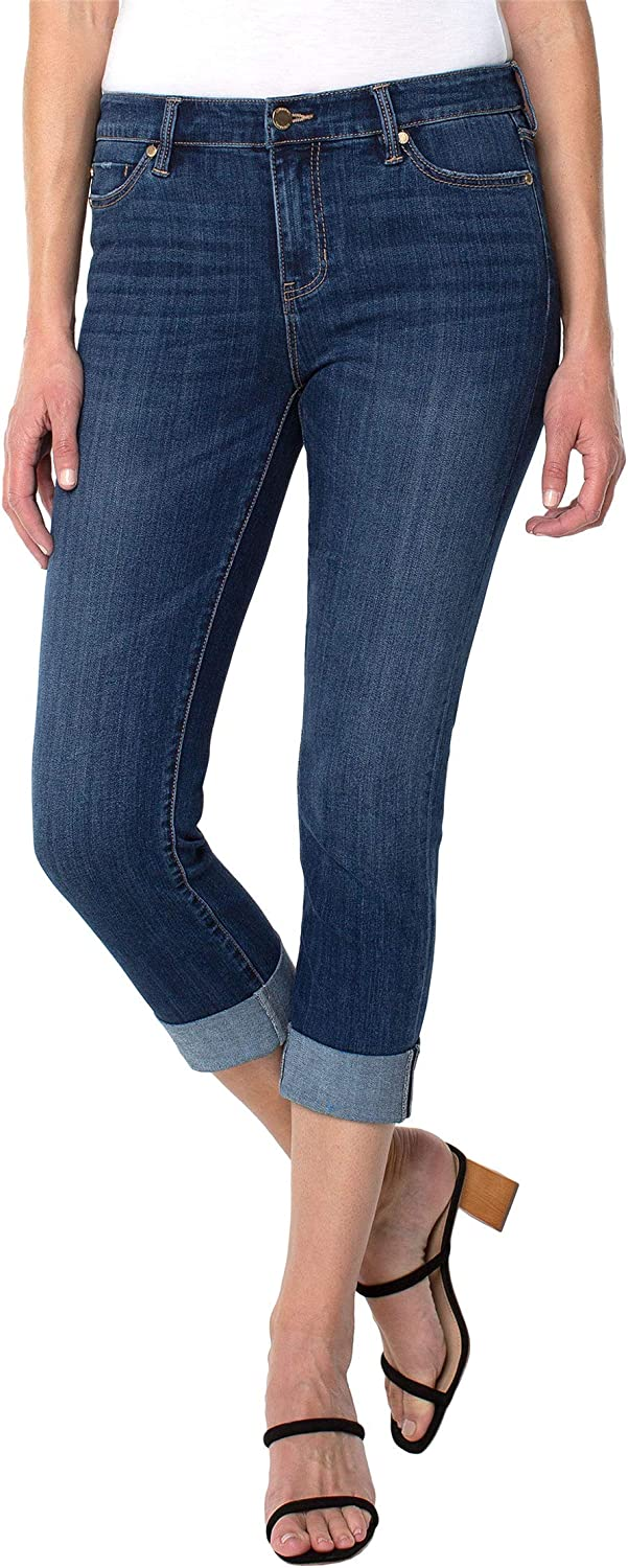 Liverpool Charlie Crop Wide Rolled Cuff Jeans in Easton