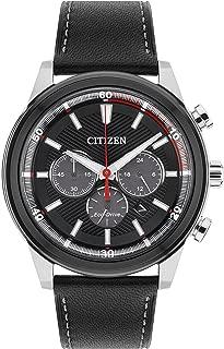 Citizen西铁城 男士太阳能驱动手表 黑色表盘 黑色皮革表带CA4348-01E