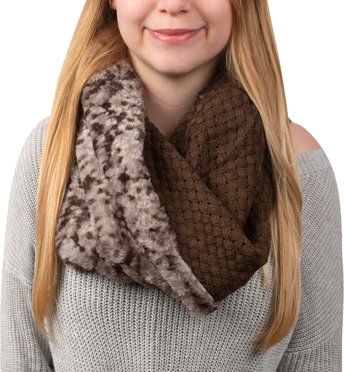 Pavilion Gift Company Warm Brown-Weave Knit & Faux Fur Infinity Scarf, One Size