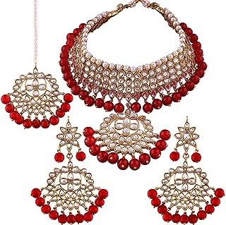 Indian Wedding Wear Faux Kundan Necklace with Maang Tikka Set Ethnic Fashion Jewelry for Women