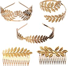 YallFF 5 Pieces Greek Roman Laurel Leaf Bracelet Armband Golden Laurel Leaves Crown Tiara Costume Greek Goddess Headband Hair Comb Bridal Wedding Headpiece Hair Accessories
