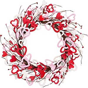 Skrantun 18 Inch Valentine's Day Wreath Wood Heart Shaped Wreath for Wedding Party Anniversary Artificial Door Wreath Gift for Girl Friend Women Mother