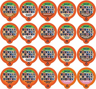 Double Donut Coffee Decaf Flavored Coffee Single Serve Cups For Keurig K Cup Brewer Variety Pack Sampler, 20Count