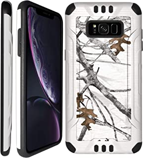 CasesOnDeck Case for Samsung Galaxy S8 - Camo Series White Brushed Metal Dual Layer Shockproof Case (Winter Camo)