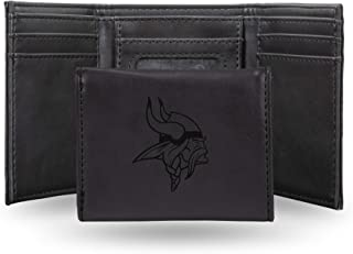 Rico Industries NFL Laser Engraved Tri-Fold Wallet, Black