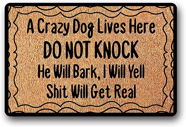 UlanLi Entrance Floor Mat Funny Doormat A Crazy Dog Lives Here Do Not Knock He Will Bark I Will Yell Shit Will Get Real Indoor Outdoor Doormat Non Woven Fabric Top 23 6 X15 7