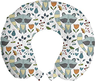 "Lunarable Cartoon Travel Pillow Neck Rest, Racoon Drawing Floral Forest Ornamentals Butterfly Art, Memory Foam Traveling Accessory for Airplane and Car, 12"", Pale Seafoam Beige"
