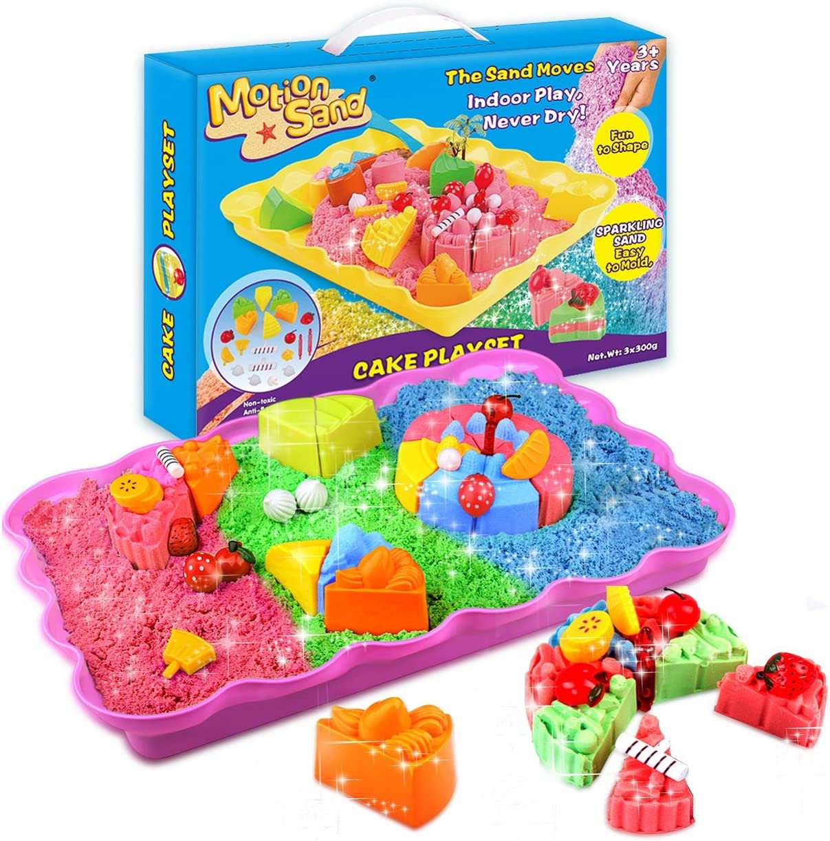 MOTION SAND 2LBS Quantity limited Shimmering Play Sand Topics on TV Kids 3 Color for Include