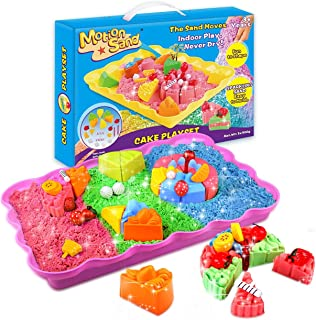 Motion Sand, 2LBS Shimmering Play Sand for Kids (Include 3 Colors), Cake Playset Molds Kit, Magic Play Sand with 20 Pcs Sa...