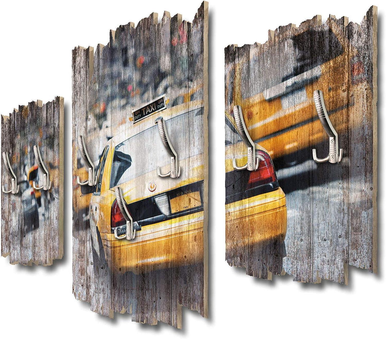 Kreative Feder Taxi New York Designer Wandgarderobe Flurgarderobe Wandpaneele 95 x 60 cm aus MDF DTGH104