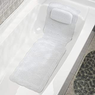 Bathtub Mat, Non Slip Body Spa Bath Pillow Mat Cushion Mattress with Large 30 Suction Cups Comfort Head Rest and Back & Tailbone Support