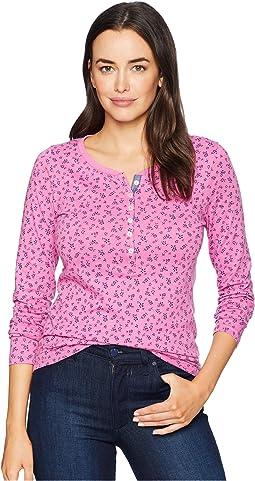 Long Button Trimmed Sleeve Floral Print Tee Shirt