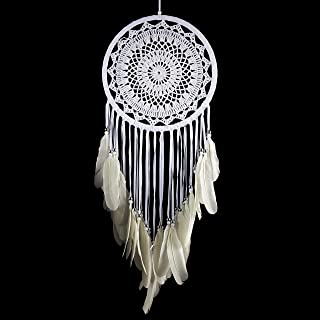 Caught Dreams Dream Catcher | All White Crochet with Swan Feathers and Beads 10.5 inches x 28 inches Long